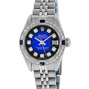 Rolex Ladies Stainless Steel Blue Vignette Diamond &