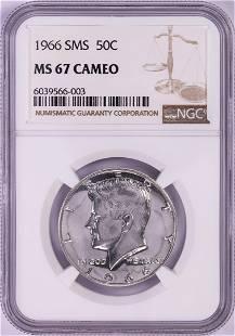 1966 SMS Kennedy Half Dollar Coin NGC MS67 Cameo
