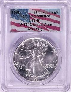WTC Ground Zero 1991 $1 American Silver Eagle Coin PCGS