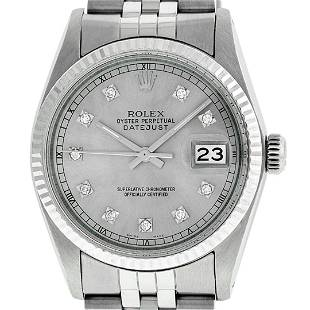 Rolex Men's Stainless Steel Slate Grey Diamond Datejust