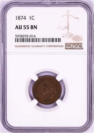 1874 Indian Head Cent Coin NGC AU55BN