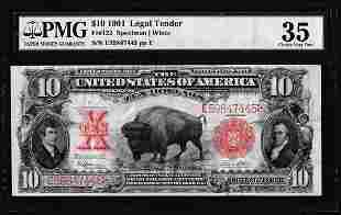 1901 $10 Bison Legal Tender Note Fr.122 PMG Choice Very