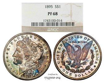 1895 Proof $1 Morgan Silver Dollar Coin NGC PF68