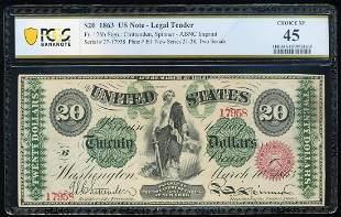 1863 $20 Legal Tender Note Fr.126b PCGS Choice