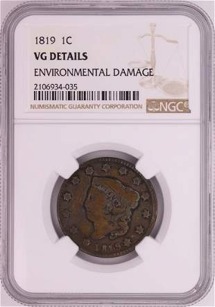 1819 Coronet Head Large Cent Coin NGC VG Details