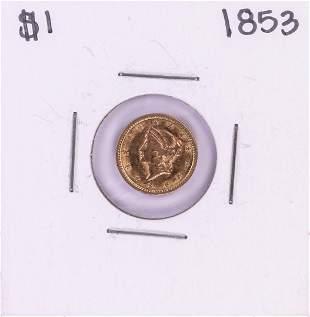1853 Type 1 $1 Liberty Head Gold Dollar Coin