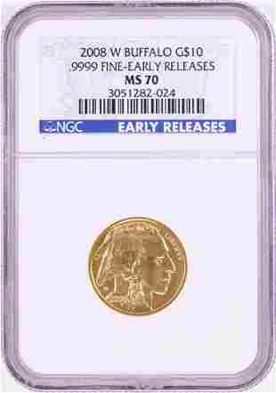 2008-W $10 American Buffalo Gold Coin NGC MS70 Early
