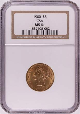 1900 $5 Liberty Head Half Eagle Gold Coin NGC MS61 GSA