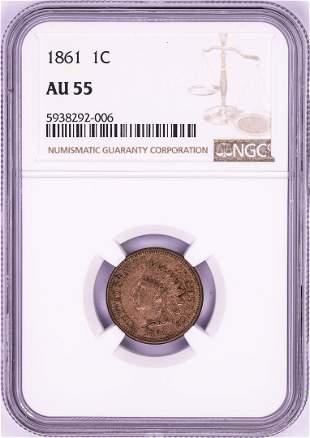 1861 Indian Head Cent Coin NGC AU55