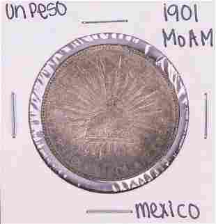 1901 Mo AM Mexico Un Peso Silver Coin