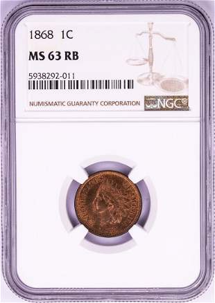 1868 Indian Head Cent Coin NGC MS63RB