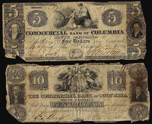 1850's $5 & $10 Commercial Bank of Columbia South