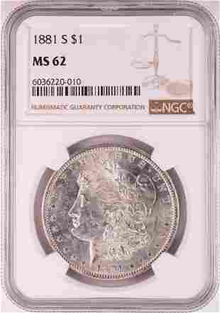 1881-S $1 Morgan Silver Dollar Coin NGC MS62 Nice