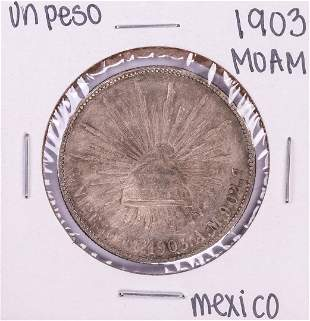 1903 Mo AM Mexico Un Peso Silver Coin