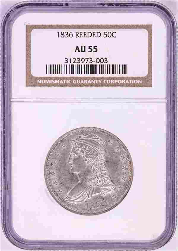 1836 Reeded Edge Capped Bust Half Dollar Coin NGC AU55