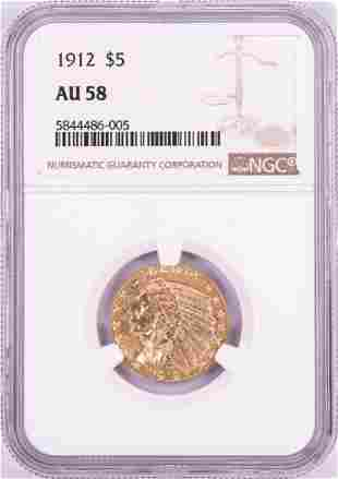 1912 $5 Indian Head Half Eagle Gold Coin NGC AU58