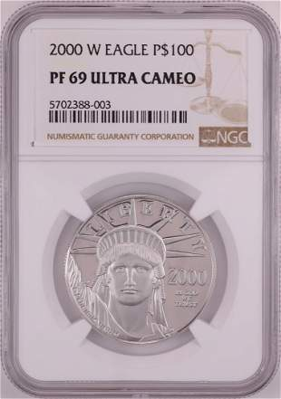 2000-W $100 Proof Platinum American Eagle Coin NGC PF69