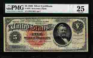 1886 $5 Silver Dollar Back Silver Certificate Fr.261