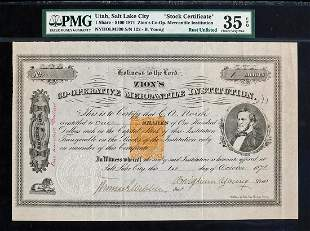 """1871 """"Brigham Young"""" Signed Stock Zion's Co-Op"""