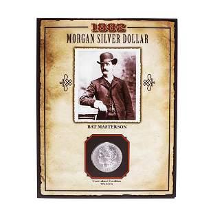 1882 $1 Morgan Silver Dollar Coin Bat Masterson Legends