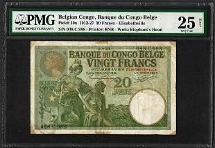 1912-27 Belgian Congo Banque du Congo Belge 20 Francs