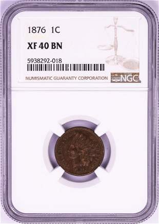 1876 Indian Head Cent Coin NGC XF40BN