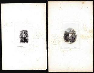 Lot of (2) 1800's Vignette from Original Proof Plates