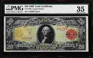 1905 $20 Technicolor Gold Certificate Note Fr.1180 PMG