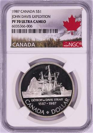 1987 $1 Canada Proof John Davis Expedition Silver