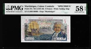 1947-1949 Martinique Caisse Centrale 5 Francs Note