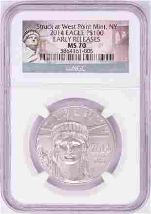 2014 $100 Platinum American Eagle Coin NGC MS70 Early