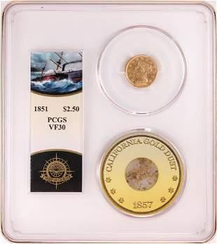 S.S. Central Shipwreck 1851 $2 1/2 Quarter Eagle Gold