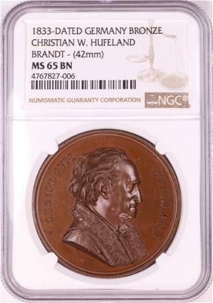 1833 Germany Bronze Christian W. Hufeland Brandt 42mm