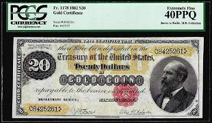 1882 $20 Gold Certificate Note Fr.1178 PCGS Extremely