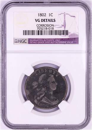 1802 Draped Bust Large Cent Coin NGC VG Details