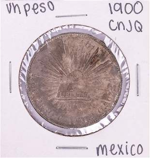 1900 Cn JQ Mexico Un Peso Silver Coin