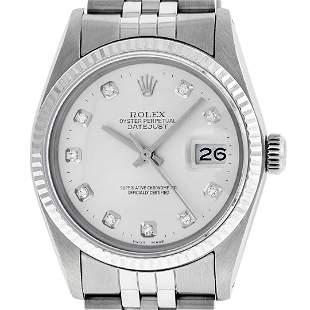 Rolex Men's Stainless Silver Diamond 36MM Datejust
