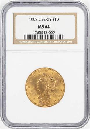 1907 $10 Liberty Head Eagle Gold Coin NGC MS64