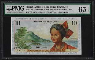 1964 French Antilles 10 Francs Note Pick# 8b PMG Gem