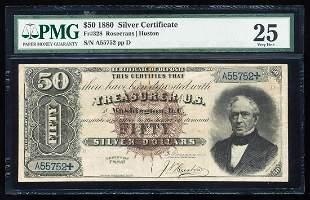 1880 $50 Silver Certificate Note Fr.328 PMG Very Fine