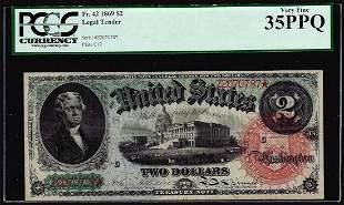 1869 $2 Rainbow Legal Tender Note Fr.42 PCGS Very Fine