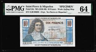 1950-1960 Saint Pierre & Miquelon 10 Francs Specimen