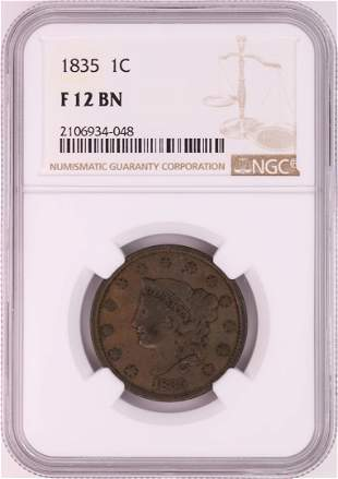 1835 Coronet Head Large Cent Coin NGC F12BN