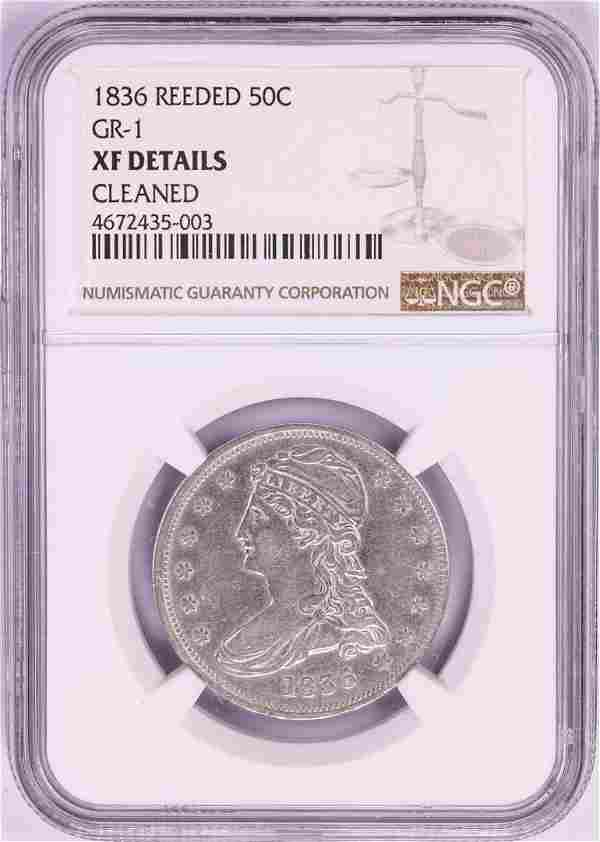 1836 Reeded Edge Capped Bust Half Dollar Coin NGC XF