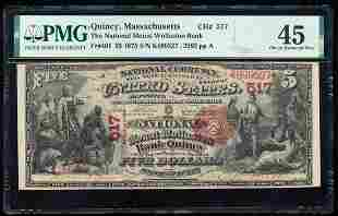 First Charter 1875 $5 Mount Wollaston Bank Quincy, MA