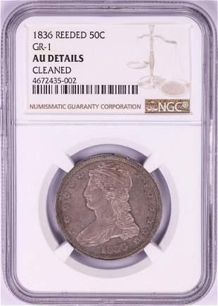 1836 Reeded Edge Capped Bust Half Dollar Coin NGC AU