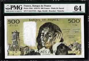 1976-1979 France Banque de France 500 Francs Note Pick#