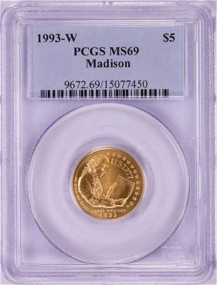 1993-W $5 Madison Commemorative Gold Coin PCGS MS69