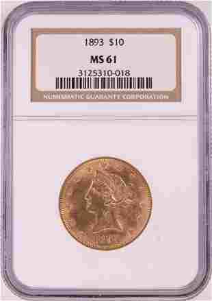 1893 $10 Liberty Head Eagle Gold Coin NGC MS61