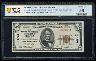 Serial Number 1 - 1929 $5 Eureka, NV CH# 11784 National